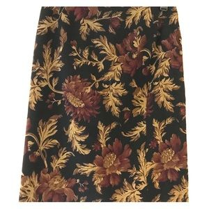 Talbots 14 Lined knee length skirt floral/brown